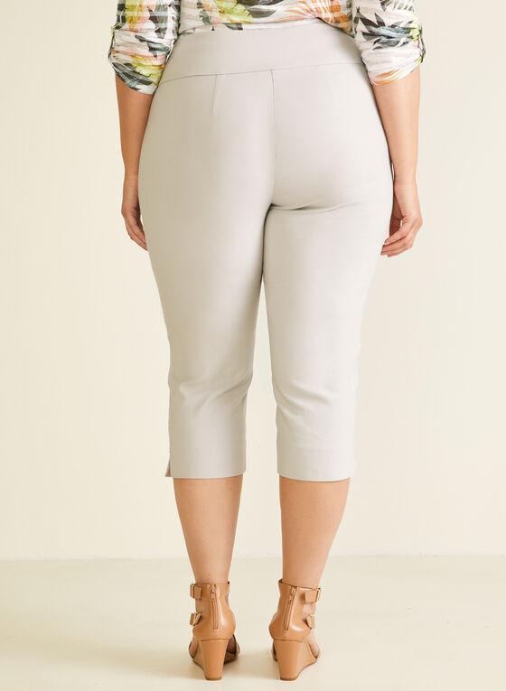 Bengaline Pull-On Capri Pants, Grey