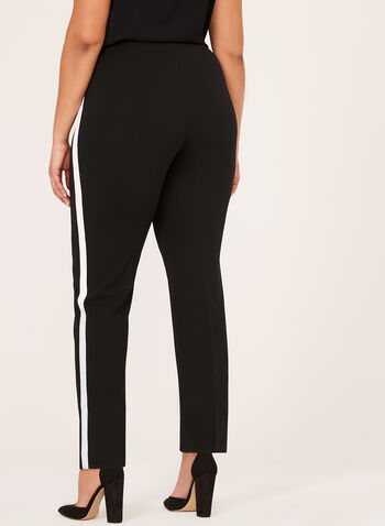 Contrasting Straight-Leg Pull-On Pants, Black, hi-res