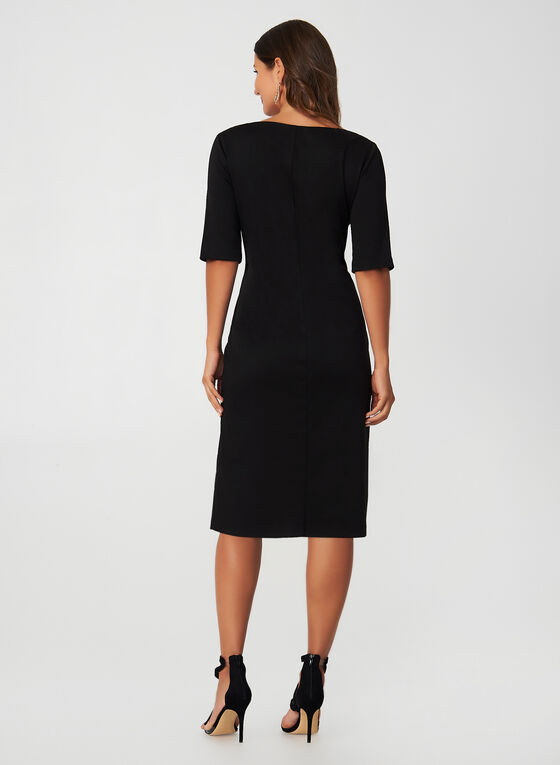 Elbow Sleeve Sheath Dress, Black