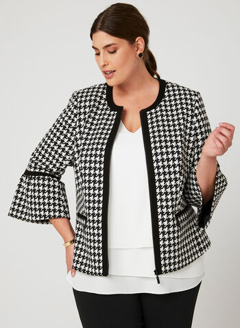 Houndstooth Print Cropped Jacket, Black, hi-res