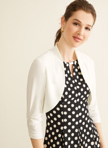 Ruched Sleeve Bolero, Off White,  spring summer 2020, 3/4 sleeves, ruching, jersey fabric