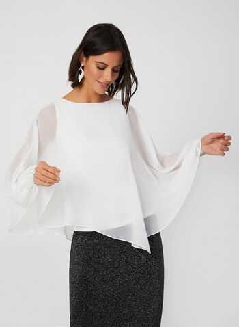 Capelet-Style Chiffon Blouse, Off White,  blouse, chiffon, rhinestones, capelet, fall 2019, winter 2019