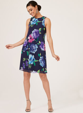 Jessica Howard - Floral Print Shift Dress, Blue, hi-res