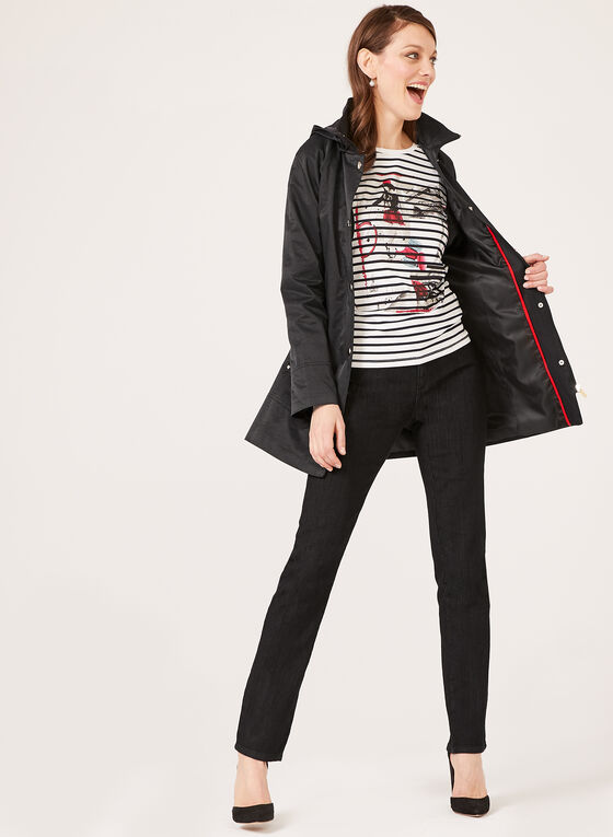 Detachable Hood A-Line Trench Coat, Black, hi-res