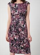 Floral Print Drape Dress, Purple, hi-res
