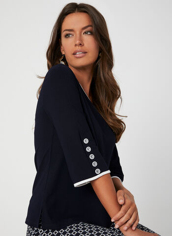 ¾ Sleeve Crepe Top, Blue,  3/4 sleeves, contrast trim, piping, flared sleeves, V-neck, fall 2019, winter 2019
