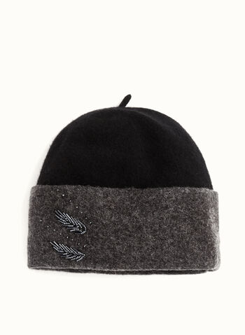 Beaded Wool Hat , Black, hi-res