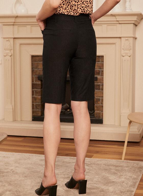 Pleated Pull-On Bermuda Shorts, Black