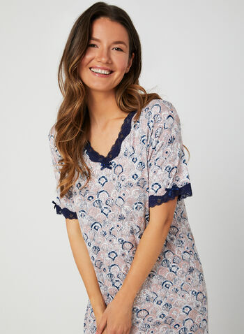 Bellina - Abstract Print Nightgown, Pink, hi-res