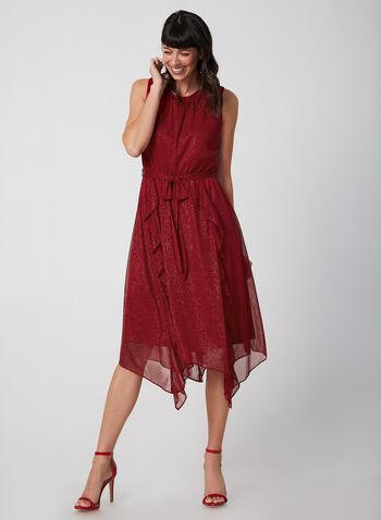 Robe en maille filet pailletée, Rouge, hi-res,  robe de soirée, sans manches, ceinture, maille filet, pailletée, automne hiver 2019