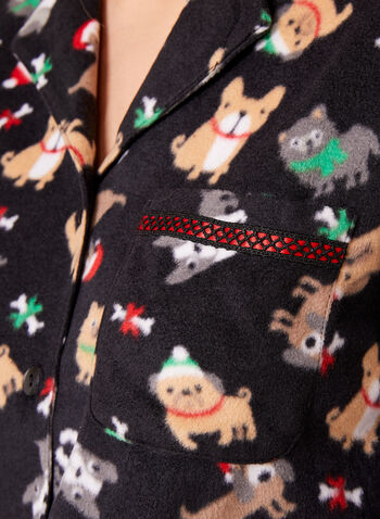 René Rofé - Dog Print Fleece Pajama Set, , hi-res