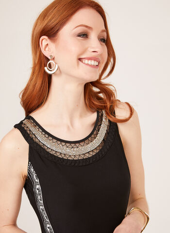 Embellished Cleo Neck Jersey Dress, Black, hi-res