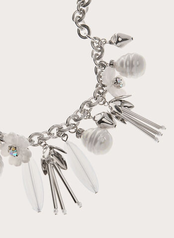 Flower Charm Dangle Necklace, White, hi-res