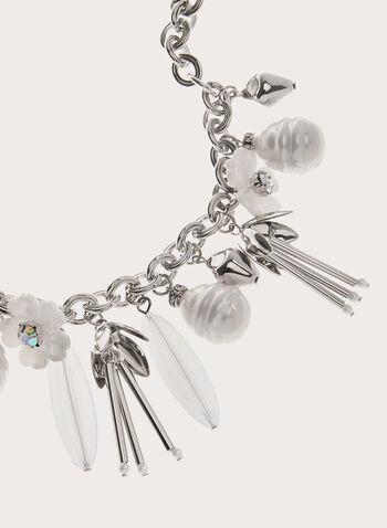 Collier chaîne à breloques florales, Blanc, hi-res