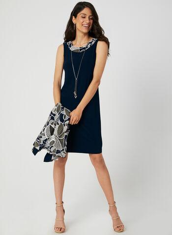 Ensemble robe et cardigan à feuilles, Bleu, hi-res,  robe cocktail, sans manches, cardigan, feuilles, maille filet, jersey, collier, automne hiver 2019