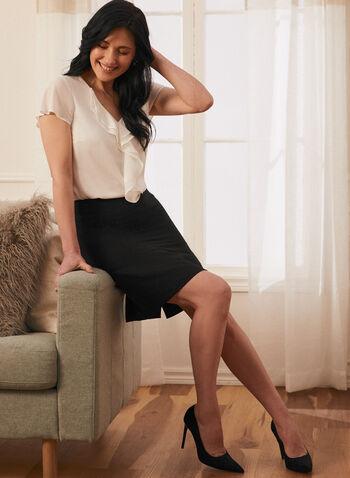 Slit Hemline Pencil Skirt, Black,  skirt, pencil, zipper, hemline slit, spring summer 2021
