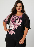 Blouse en jersey à motif floral, Noir, hi-res