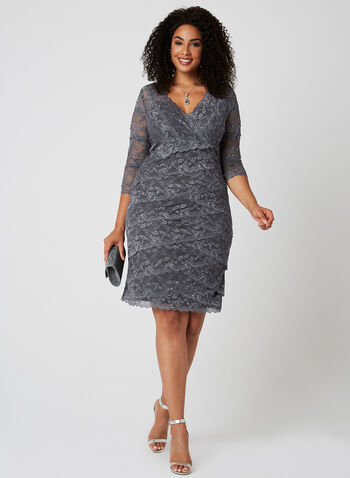 Marina - Beaded Lace Dress, Grey, hi-res
