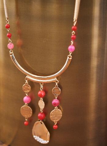 Collier à billes et médaillons texturés , Rouge,  collier, doré, printemps été 2021, accessoire, bijou, pendentifs, disques, maillons, billes