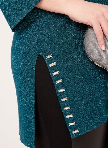Pull brillant style tunique à détails métalliques, Bleu, hi-res