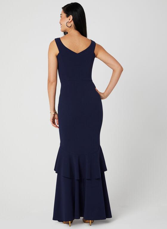 Ruffle Hem Mermaid Dress, Blue, hi-res
