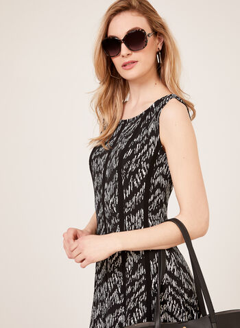 Abstract Print Sleeveless Jersey Dress, Black, hi-res