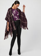 Blouse motif feuilles à manches courtes, Violet, hi-res