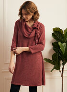 Drawstring Collar Sweater Knit Tunic, Red