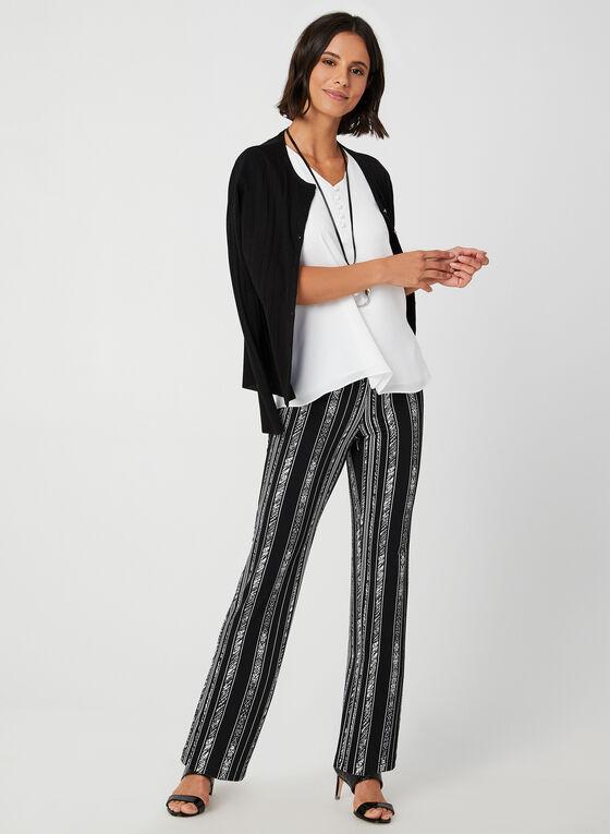 Pantalon rayé coupe moderne, Noir