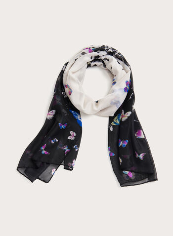 Butterfly Print Scarf, Black, hi-res