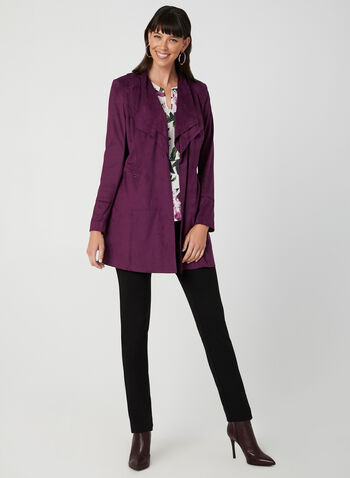 Long Open Front Jacket, Purple, hi-res,  long sleeves, cascading, pockets, zippers, fall 2019, winter 2019