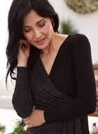 Matte and Sequin Wrap Top, Black