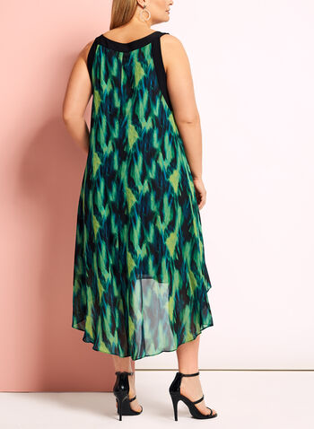 Watercolour Print High-Low Dress, Green, hi-res