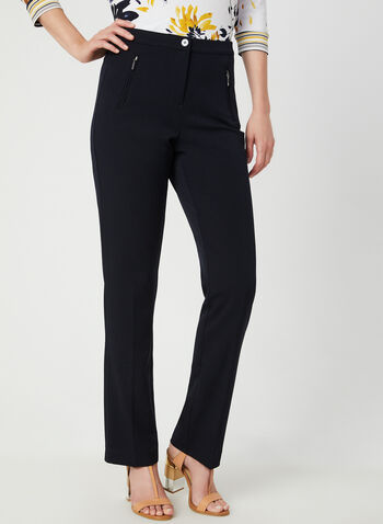 Signature Fit Straight Leg Pants, Blue,  high rise, shaped hips, tummy control, zippers, buttons, straight leg, fall 2019, winter 2019