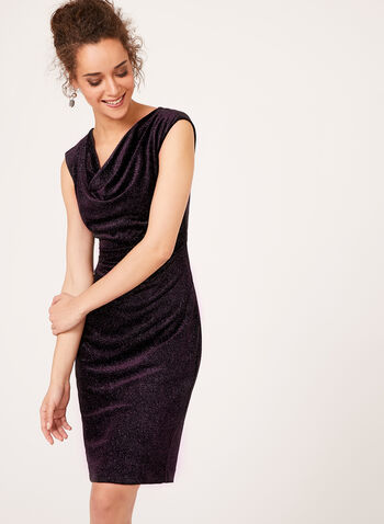 Glitter Velvet Cowl Neck Dress , , hi-res