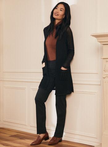 Open Front Knit Cardigan , Black,  cardigan, long sleeves, crochet stitch, side slits, pockets, Spring 2020