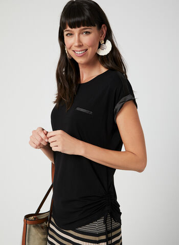 Satin Trim T-Shirt, Black, hi-res,  t-shirt, tee, tee-shirt, viscose top, satin top, spring summer 2019