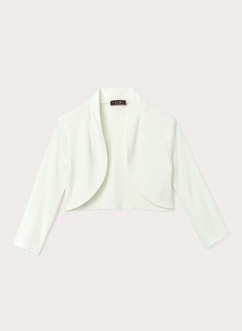 Open Front ¾ Sleeve Bolero , Off White, hi-res