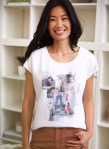 T-shirt à imprimé d'inspiration parisienne, Blanc,  t-shirt, haut, encolure arrondie, manches courtes tombantes, cordon serrage, embout argenté, détail, cristaux, imprimé, inspiration parisienne, paris, printemps été 2021