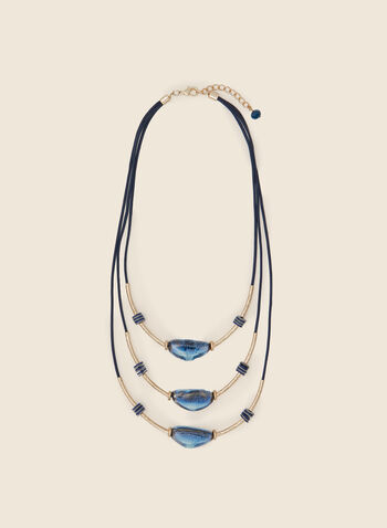 Triple Row Stone Necklace, Blue,  necklace, short, stones, pendant, metallic, triple, fall winter 2020