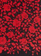 Foulard oblong fleurs et feuilles, Rouge, hi-res