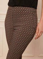 Circle Print Slim Leg Pants, Black