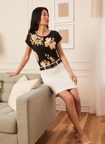 Denim Straight Skirt, White,  skirt, denim, pockets, embroidered detail, straight, spring summer 2020