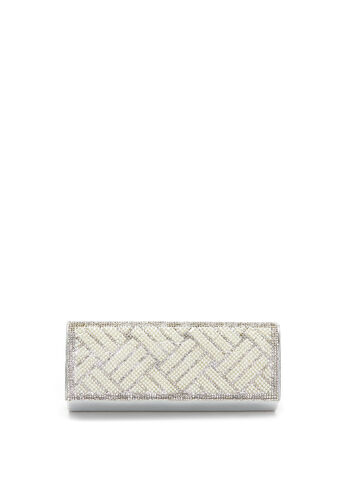 Crystal & Pearl Flapover Clutch , , hi-res