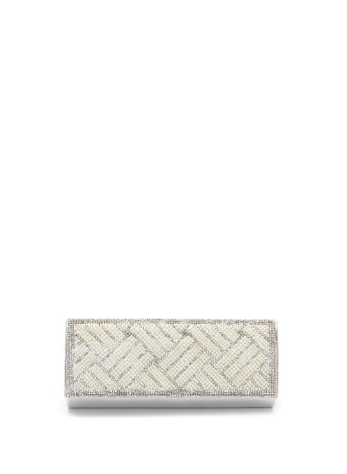 Crystal & Pearl Flapover Clutch , Silver, hi-res