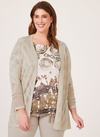 Open Front Pointelle Cardigan, Grey, hi-res