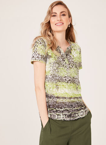 Animal Print Henley T-Shirt, Black, hi-res