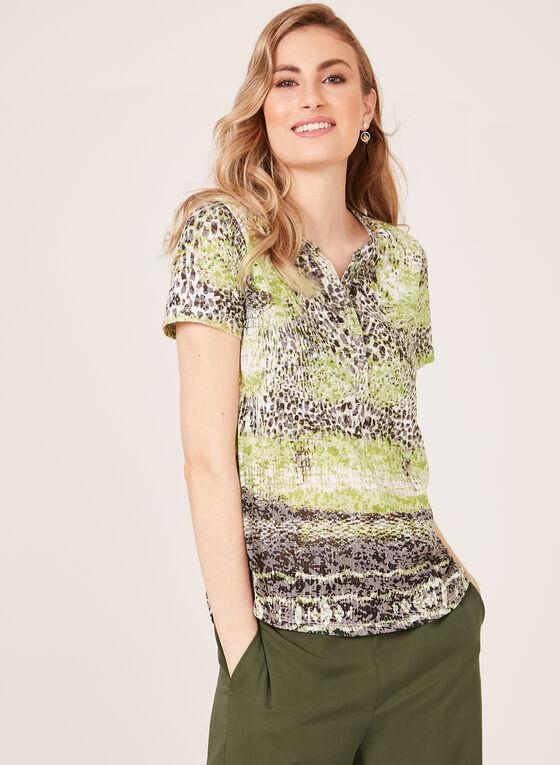 Animal Print Henley T-Shirt, Black, hi-res