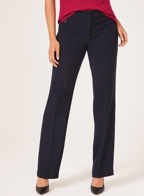 Pantalon coupe moderne à jambe droite, Bleu, hi-res