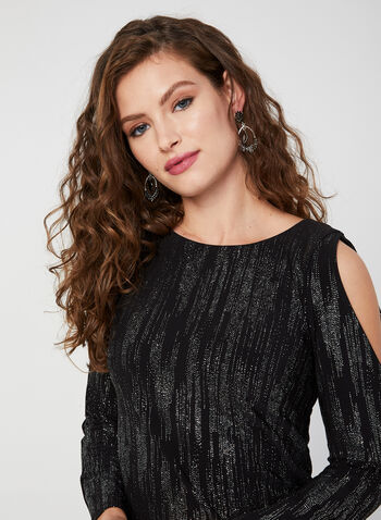 Cold Shoulder Glitter Dress, Black, hi-res,  dress, cocktail dress, long sleeves, cold shoulder, glitter, fall 2019, winter 2019